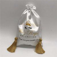 Wholesale satin drawstring gift bags resale online - 20PCS Luxury Silk Tassel Satin Bag Hair Extensions Wigs Makeup Packaging Bags Custom Print Logo Gift Bag x30 x35 x40cm