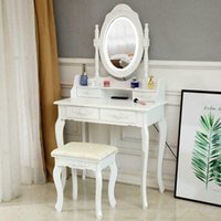 Wholesale Vanity Table Lights Mirror Drawers Makeup Dressing Desk with Stool Set White