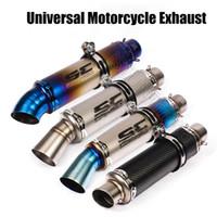 cinta de color canela al por mayor-51 mm de entrada universal de Moto GP Racing Exhasut escape modificado suciedad bicicletas retro pipa del silenciador ajuste para la mayoría del motocrós ATV Scooter