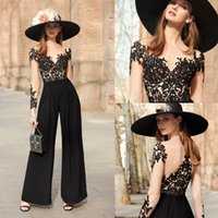 Wholesale nude pictures women for sale - Group buy Elegant Abendkleider evening formal jumpsuit prom Evening Dresses wear Lace O Neck Long Sleeves Women Formal Prom Gowns Party Dress