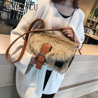 дизайнерские сумочки faux оптовых-Hot Sale New Winter Crossbodybag Women Bag Luxury Women Handbags Purse Designer  Ladies Faux Fur Shoulder Messenger Bags