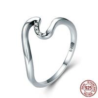 hediye parmak halkalarını seviyorum toptan satış-S925 Kadınlar için Geometrik Dalga Parmak Yüzük Gümüş Alyans Kadın Nişan Takı Önerisi Hediye Handwear Size Aksesuar Aksesuar