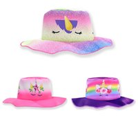 Wholesale baby girl bucket hats resale online - Girl Unicorn Bucket Caps Cotton Material Purple Colorful Cartoon Patterns Sunhat Baby Summer Prevent Sunburn Sun Cap tsa L1