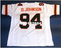 vajilla amarilla al por mayor-HORRÁNICOS DE MIAMI PERSONALIZADOS Hombres # 94 DWAYNE JOHNSON UNIVERSITY College Jersey tamaño s-4XL o personalizada cualquier nombre o número