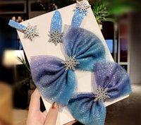 pinzas de pelo scrunchy al por mayor-Clips de copo de nieve de cristal accesorios para el cabello pelo para las mujeres de invierno Lazos niñas de las horquillas azul Scrunchies WE-41