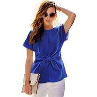 blusa de gasa o cuello al por mayor-Moda-Camisa de las mujeres 2017 Nuevo Otoño de manga corta Arco Camisas de gasa O-cuello Oficina Blusa casual Azul Blanco Rosa Blusas