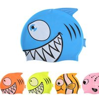 gorro de baño gratis al por mayor-Gorra de baño Cartoon Clownfish Swim Shower Bath Cap Gorro de surf Proteger Orejas Swim Pool Shower cap Para Niños Niñas universal gratis FEDEX TNT