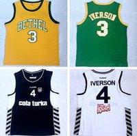 ingrosso maglia gialla per gli uomini-Gilet basket stile NCAA Stitched Georgetown # 3 Iverson # 4 Iverson giallo e verde stile uomo