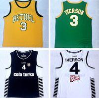 erkekler için sarı yelek toptan satış-NCAA Dikişli Georgetown # 3 Iverson # 4 Iverson sarı ve Yeşil Işlemeli Jersey Erkekler Stil Basketbol Yelekler