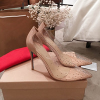 Wholesale rhinestones see through dresses resale online - Hot Sale Red bottom high heels sexy stilettos glitter Luxury crystal Wedding shoes womens pumps see through pointed toe ladies shoes