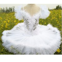 tutú de plumas niño al por mayor-Ballet Tutu Profesional Pancake niños blancos lago de los cisnes Ballet Baby traje de Danse pluma de las muchachas Ballerine faldas del tutú