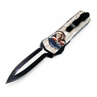 Wholesale skull self defense resale online - autoTF Special forces C blade skull double action tactical self defense folding edc knife automatic knife automatic knives xmas gift