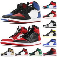 топ мужская мужская обувь оптовых-Мужские черные кеды 1 OG Баскетбольные кроссовки Top Bred Chicago Top 3 Shadow Triple Black Gold Toe Мужская дизайнерская обувь Спортивные кроссовки