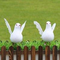 ingrosso decorazione del giardino degli uccelli-Artificiale Decorativo Colomba Schiuma Piuma Bianco Uccello Casa Giardini Decorazione Ornamento Decorazione del partito artificiale Uccelli bianchi artificiali