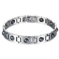 pulseira de aço de titânio magnético de saúde venda por atacado-Energia saúde sports pulseira hematita titanium aço inoxidável pulseira com magnético moda jóias para homens 12 5sh e1