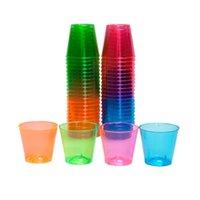 ingrosso tazze di plastica arancione-promozione baloon party - Forniture per matrimoni per feste, plastica usa e getta 30 ml / 1 oz assortiti colorati (rosa / verde / blu / arancione), 30 pezzi