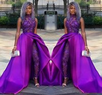 Wholesale white sleeveless pant suits for sale – dress 2019 Classic Jumpsuits Prom Dresses With Detachable Train full Lace Appliqued sequined Evening Gowns Luxury African Party Women Pant Suits