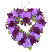 Wholesale plastic wreaths for sale - Group buy Home Decor Lifelike Handmade Artificial Wreath Vivid Ornament Wedding Party Plastic Festival Bar Hanging Heart Shape Garden