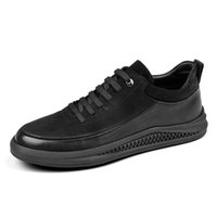 Wholesale mens european casual shoes for sale - mens shoes brands european runway winter trainers genuine leather sneakers black cow luxury spring casual skate real