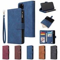 ingrosso copertura zip iphone-Multi-funzione 2 in 1 slot per schede Zip portafogli in pelle di caso di vibrazione della copertura della pelle per iPhone Pro 11 Max