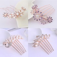 Wholesale bridal combs for sale - Group buy Fashion Crystal Stone Hair Combs Handmade Wedding Hairpins headwear Women Hair Jewelry Clips Colorful Bridal Accessories