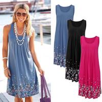 mavi renk elbise toptan satış-Yaz Plaj Kolsuz Elbiseler Çiçek Baskı Gevşek Moda Altı Renkler Casual Kadın Elbise 2019 Seksi Elbise mor mavi siyah pembe Artı Boyutu