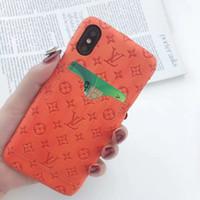 ingrosso disegni della pittura della lettera-Custodie per cellulari One Piece Luxury Embossing Designer per iPhone x iphone 8 plus Custodia XsMax Cover posteriore Custodia per cellulare con tasca per schede