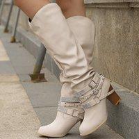 anti-rutsch-high heels großhandel-Oeak Herbst Stiefel für Frauen Rivet Kristall Mid-Kalb Boot Plus Size 8-10,5 Anti-Rutsch-Absatz Lederstiefel Frauen Mode