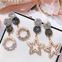 boucle d'oreille pointue achat en gros de-bijoux de fantaisie s925 boucles d'oreille en argent sterling perle cercle rond boucles d'oreilles étoiles à cinq branches en cristal pour les femmes de mode chaude