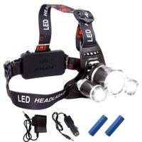 luzes de caça led venda por atacado-2020 recarregável Farol 13000Lm XM-T6 3LED farol cabeça luz Pesca Lâmpada Hunting Lanterna + 2x 18650 + Car / AC / Carregador USB