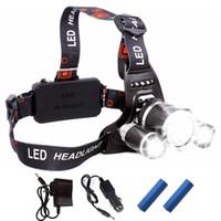 ingrosso luci di caccia automobilistiche-2020 ricaricabile faro 13000Lm XM-T6 3LED faro luce testa Pesca della lampada Caccia Lanterna + batteria 2x 18650 + Car / AC / caricatore USB