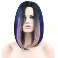 Wholesale straight pink cosplay wig online - Synthetic Hair Short Straight Black To Gray Pink Ombre Hair Cosplay Wigs Party Hairstyle Wig Hair Accessories For Women