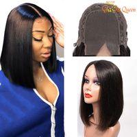 virgin lace wig venda por atacado-4x4 Rendas Bob perucas de Cabelo Em Linha Reta Cabelo Virgem Brasileiro Em Linha Reta Frente Perucas de Cabelo Humano Rendas Suíço Peruca Frontal Gaga rainha