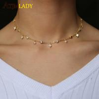 altın taklidi mücevherler toptan satış-2018 Tasarımlar Kübik Zirkonya Kristal Altın Beyaz Gül Altın Gümüş Renk dangle yıldız cz bırak Gerdanlık Kolye Mücevherat Kadınlar için