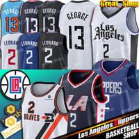 çin mayo ücretsiz kargo toptan satış-Los AngelesClippers Kawhi 2 Leonard Jersey LA Paul 13 George Formalar Dikişli Basketbol Formalar Buffalo Braves Jersey