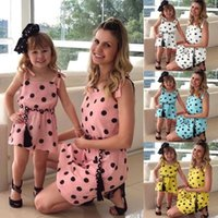 Wholesale clothing styles mom daughter resale online - Mother And Daughter Dress Summer Fashion Dot Dresses Family Matching Clothes Mommy And Me Clothes Mom Daughter Dot Dress
