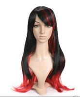 красные черные парики аниме оптовых-Парик доставка новый Cos черный и красный длинная длина аниме косплей костюм парик