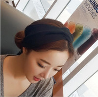 Wholesale hair colour bands resale online - Fashionabe Women Knitted Cross Stretch Wide Absorbing Facial Washing Hair Band Sports Yoga Headband Solid Colour Fabric Head Wrap