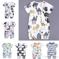Wholesale boys 24 month onesies resale online - INS Baby Onesies Summer Cotton Rompers YAY Letters Bear Boys Girls Months Kids Clothes Knitted Cartoon Short sleeved Jumpsuit Outfit