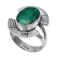 изумруд кольцо 925 серебряный размер оптовых-NiaoZaiFei YunZaiKan подлинный Изумруд кольцо стерлингового серебра 925 пробы, США размер :8.25, 2SR0275
