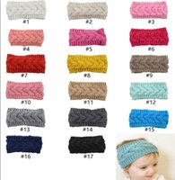 Wholesale handmade crochet headbands resale online - 17 Colors Kids Knitted Headbands Girls Hairband Winter Soft Elastic Headband Candy Colors Handmade Crochet Hairbands