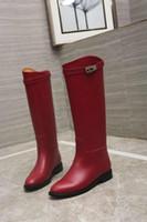 bottes habillées rouges à talons hauts achat en gros de-Bottes longues en peau de vache 307609 Femmes rouges Botte Bottes de pluie Bottes de marche Baskets Talons Hauts Lolita Escarpins Chaussures Habillées