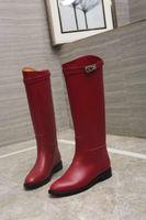 rote high heel kleid stiefel großhandel-Lange Stiefel aus Rindsleder 307609 Rot Damenstiefel Reiten Regen Stiefel Booties Sneakers High Heels Lolita Pumps Kleid Schuhe