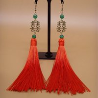 Wholesale chinese coral resale online - Chinese Traditional Wedding Jewelry Bridal Bronze Double Happiness Earrings Long Red Tassels Festive Earrings Natural Chalcedony