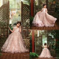 Wholesale hand picture flowers for sale - Group buy 2020 Princess Little Girls Flower Girls Dresses Lace Sequins Beads Jewel Neck Open Back Girls Pageant Dresses for Wedding Party Gowns