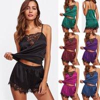 bayan iç çamaşırı takımları toptan satış-Yeni Stil Bayanlar Kadınlar Egzotik Setleri Dantel Patchwork Pijama Lingerie Gecelik Takım Elbise Kolsuz Kayma Moda Sıcak