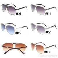gafas de sol de flash al por mayor-Gafas de sol de alta calidad 9017 para hombres y mujeres de marca Diseñador Plank gafas de sol Lentes de flash con lentes de cuero marrón