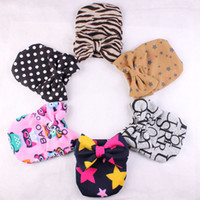 Wholesale star beanie baby hat winter for sale - Group buy INS Hats Newborn Winter Warm Bow Caps Leopard Stars Printed Beanies Hedging Cap Baby Crochet Bowknot Hat kids Accessories M1056