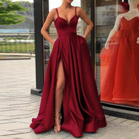 Wholesale muslim evening dresses resale online - Champagne Muslim Evening Dresses High Slit Satin Spaghetti Straps Sweetheart A Line Long Prom Dress Burgundy Evening Gown