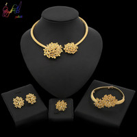 Wholesale gold plated costume jewellery for sale - Group buy Yulaili New Nigerian Wedding Jewelry Sets for Women Zinc Alloy Flower Shape Crystal Necklace Earrings African Costume Party Jewellery